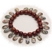 Multi-Saints Silver Plated Medals Wood Elastic Bracelet