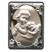 "Guardian Angel Silver Laminated Plaque cm.5x6.5 - 2""x2 1/2"""