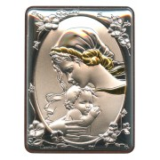 "Mother and Child Silver Laminated Plaque cm.5x6.5 - 2""x2 1/2"""