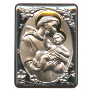 "St.Anthony Silver Laminated Plaque cm.5x6.5 - 2""x2 1/2"""