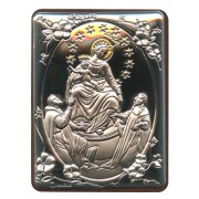 "Our Lady of Pompei Silver Laminated Plaque cm.5x6.5 - 2""x2 1/2"""