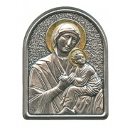 "Perpetual Help Pewter Picture cm. 5.5x4.2- 2 1/8""x 1 1/2"""