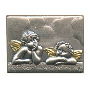"Guardian Angel Pewter Picture cm. 5.5x4.2- 2 1/8""x 1 1/2"""