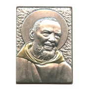 "Padre Pio Pewter Picture cm. 5.5x4.2- 2 1/8""x 1 1/2"""