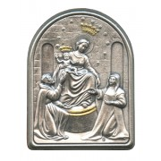 "Our Lady of Pompei Pewter Picture cm. 5.5x4.2- 2 1/8""x 1 1/2"""
