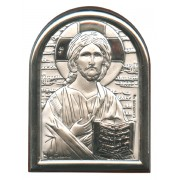 "Pantocrator Plaque with Stand Brown Frame cm.6x4.5 - 2 1/4""x 1 3/4"""