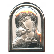 "Mother and Child Plaque with Stand Brown Frame cm.6x4.5 - 2 1/4""x 1 3/4"""
