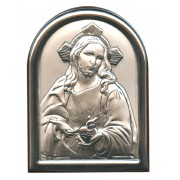 "Sacred Heart of Jesus Plaque with Brown Frame cm.6x4.5 - 2 1/4""x 1 3/4"""