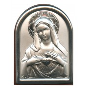 "Immaculate Heart of Mary Plaque with Stand Brown Frame cm.6x4.5 - 2 1/4""x 1 3/4"""
