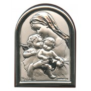 "Guardian Angel Plaque with Stand Brown Frame cm.6x4.5 - 2 1/4""x 1 3/4"""