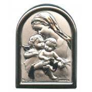 "Guardian Angel Plaque with Stand Mother of Pearl Frame cm.6x4.5 - 2 1/4""x 1 3/4"""