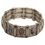 Large Multi-Saints Silver Plated Metal Elastic Bracelet Colour Pictures