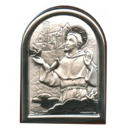 "St.Francis Plaque with Stand Brown Frame cm.6x4.5 - 2 1/4""x 1 3/4"""