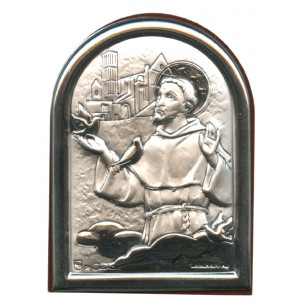 http://monticellis.com/2550-2732-thickbox/stfrancis-plaque-with-stand-brown-frame-cm6x45-2-1-4x-1-3-4.jpg