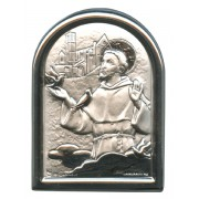 "St.Francis Plaque with Stand Mother of Pearl Frame cm.6x4.5 - 2 1/4""x 1 3/4"""