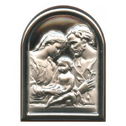 "Holy Family Plaque with Stand Brown Frame cm.6x4.5 - 2 1/4""x 1 3/4"""