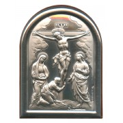 "Crucifixion Plaque with Stand Brown Frame cm.6x4.5 - 2 1/4""x 1 3/4"""