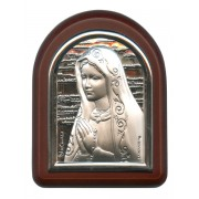 "Our Lady of Sorrows Plaque with Stand Brown Frame cm. 6x7- 2 1/4""x2 3/4"""