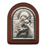 "Perpetual Help Plaque with Stand Brown Frame cm. 6x7- 2 1/4""x2 3/4"""