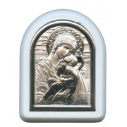 "Perpetual Help Plaque with Stand White Frame cm. 6x7- 2 1/4""x2 3/4"""