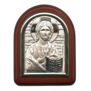 "Pantocrator Plaque with Stand Brown Frame cm. 6x7- 2 1/4""x2 3/4"""
