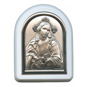 "Sacred Heart of Jesus Plaque with Stand White Frame cm. 6x7- 2 1/4""x2 3/4"""