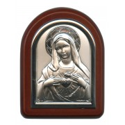 "Immaculate Heart of Mary Plaque with Stand Brown Frame cm. 6x7- 2 1/4""x2 3/4"""