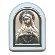 "Immaculate Heart of Mary Plaque with Stand White Frame cm. 6x7- 2 1/4""x2 3/4"""