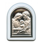 "Holy Family Plaque with Stand White Frame cm. 6x7- 2 1/4""x2 3/4"""