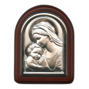 "Mother and Child Plaque with Stand Brown Frame cm. 6x7- 2 1/4""x2 3/4"""