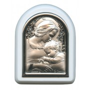"Mother and Child Plaque with Stand White Frame cm. 6x7- 2 1/4""x2 3/4"""