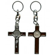 St.Benedict Silver with Brown Enamel Keychain cm.5.5 - 2""