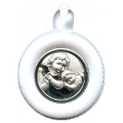 Crib Medal Guardian Angel White cm.8.5- 3 1/4""