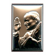 "Pope John Paul II Silver Laminated Picture cm.4x6- 1 1/2""x 2 1/4"""