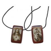 Multi-Saints Gold Plated Medals Wood Elastic Bracelet