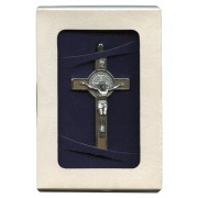 "St.Benedict Wood Crucifix Set with Book and Cord cm.8- 3"" Boxed"