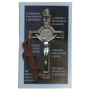 "St.Benedict Crucifix Economic Set with Book and Cord cm.8- 3"" Plastic Bag"