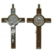 St.Benedict Crucifix Enamelled Gold Plated cm.8 - 3""