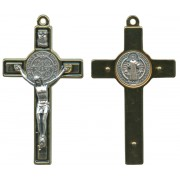 St.Benedict Metal Crucifix Gold Plated Black cm.8-3""