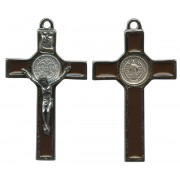 St.Benedict Crucifix Enamelled Silver Plated cm.5 - 2""