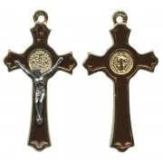 St.Benedict Crucifix Enamelled Gold Plated cm.5 - 2""