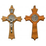"""St.Benedict Olive Wood Crucifix mm.48 - 2"""""""