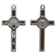 St.Benedict Mignon Metal Crucifix Brown Silver Plated cm.2.5- 1""