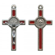 St.Benedict Mignon Metal Crucifix Red Silver Plated cm.2.5- 1""