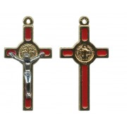 St.Benedict Mignon Metal Crucifix Red Gold Plated cm.2.5- 1""