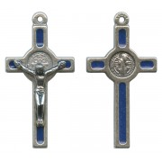 St.Benedict Mignon Metal Crucifix Blue Silver Plated cm.2.5- 1""