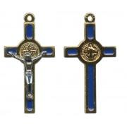 "St.Benedict Mignon Metal Crucifix Blue Gold Plated cm.2.5- 1"""