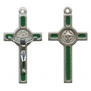 St.Benedict Mignon Metal Crucifix Green Silver Plated cm.2.5- 1""