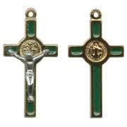 St.Benedict Mignon Metal Crucifix Green Gold Plated cm.2.5- 1""