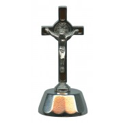 St.Benedict Mignon Metal Crucifix with Base Silver Plated cm.9- 3 1/2""
